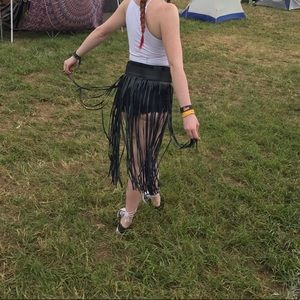 Accessories - Black festival faux leather fringe skirt / belt